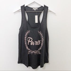 PJ Salvage Paris Pink and Gray Racerback Tank